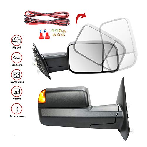 MOSTPLUS MOSTPLUS Power Heated Towing Mirrors for 02-08 Dodge Ram 1500 2500 3500 W/Turn Signal Light (Set of 2)(THIS ITEM WILL REQUIRE FURTHER MODIFICATION)