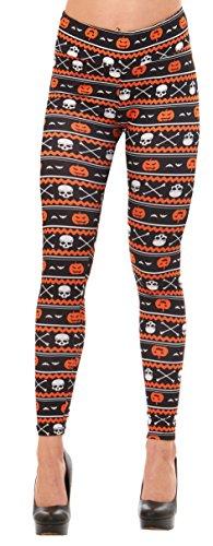 Travel Themed Halloween Costumes (Just One Women's Fun Peach Feel Halloween Leggings (Black/Orange Pumpkin, L))