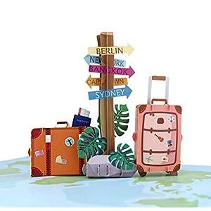 41h5S MOKIO® Pop-Up Reisegutschein – 3D Gutscheinkarte zum Urlaub, Geburtstag oder Abschied – Geldgeschenk für Urlaubsgeld…