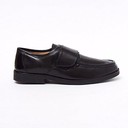 b69f0f33c633 Lucini Formal Men Black Leather Velcro Heels Smart Shoes Slip On Wedding  Loafer Men UK 8 EU 42   Amazon.co.uk  Shoes   Bags