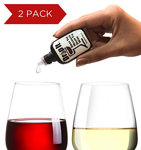 Drop It Wine Drops, 2pk - Natural Wine Sulphite and Tannin Remover - Drop the Wine Headache, Enjoy Your Wine - Portable and Discrete - A Wine Filter/Wine Wand Alternative, ()