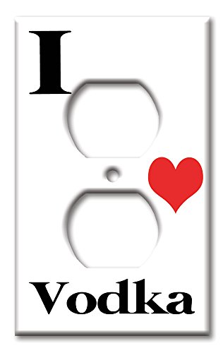 Art Plates - Single Gang Outlet OVERSIZE Switch / Wall Plate - I Heart (Heart Vodka)