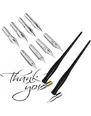 مجموعتان/ 10 قطع من أقلام التمليس بخط مائل تشمل قطعتين 2 في 1 حامل أقلام مائل أو مستقيمة مع مقصورة رأس داخلية و8 قطع استبدال