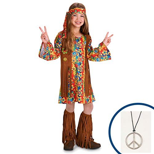 BirthdayExpress 60s Hippie Costume Kit with Accessories Girls -