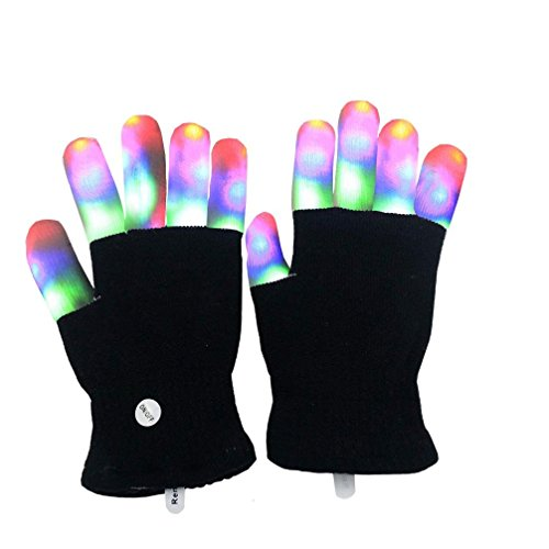 Luwint LED Colorful Flashing Finger Lighting Gloves (No Box Package) -