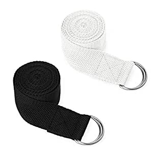 GOGO 2 Packs Yoga Strap Adjustable Cotton Exercise Straps with D-Ring Buckle (Black & White, 6Ft)