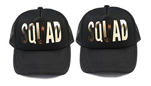 Bachelorette Party 2 Pack Black Squad Cap Gold Metalllic Trucker Hats (Black-Squad 2 Pack)