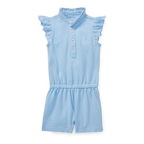- Ralph Lauren Baby Girls Cotton Flutter-Sleeve Romper (Elite Blue, 24 Months)