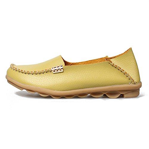 Fereshte Womens Mode Äkta Läder Loafers Tillfälliga Slip-on Mjuka Sulor Platta Skor För Att Driva Handla Urringade Äppelgrön
