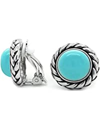 Vintage Clip On Earrings Braided Light Blue Women Fashion
