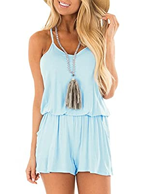 REORIA Womens Casual Summer One Piece Sleeveless Spaghetti Strap Playsuits Short Jumpsuit Beach Rompers Light Blue X-Large