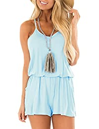 367b38640bbe9 Womens Casual Summer One Piece Sleeveless Spaghetti Strap Playsuits Short  Jumpsuit Beach Rompers Light Blue X