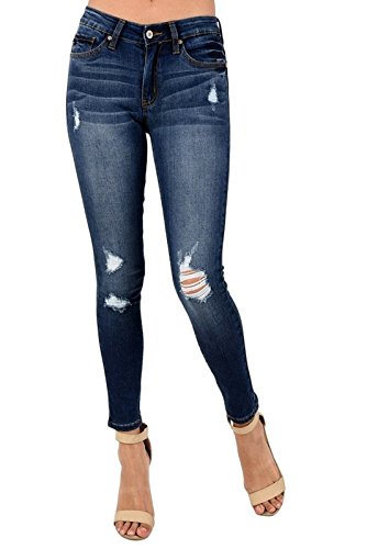 Kan Can Women's Mid Rise Destroyed Skinny Jeans Dark Wash KC8001HRD (3, Dark Wash)