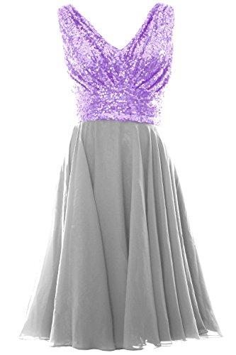 MACloth Women V Neck Sequin Chiffon Short Bridesmaid Dress Formal Evening Gown Coral