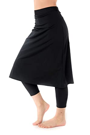 e4df3e06163e8 Amazon.com: Women's Swim Skirt with Attached Leggings- UV Protection Cover  Up- Plus Sizes Available: Clothing