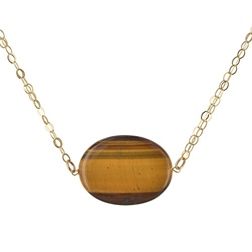 Gold Filled Tiger Eye - ASHANTI Oval Tiger's Eye Natural Gemstone 14K Gold-Filled Handcrafted 18 inch Necklace