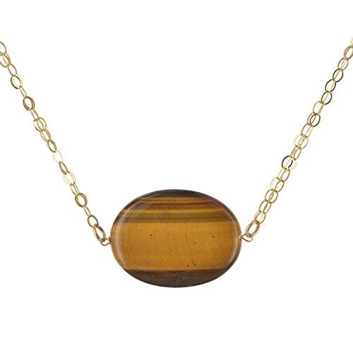 ASHANTI Oval Tiger's Eye Natural Gemstone 14K Gold-Filled Handcrafted 18 inch Necklace (Pendant Tiger Gold 14k)