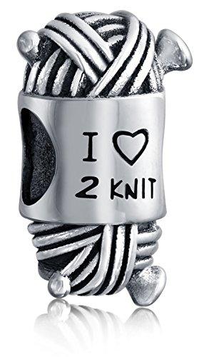 I Love Too Knit Ball Spool Of Yarn Kitting Knitter Bead Charm For Women For Teen Sterling Silver For European Bracelet ()