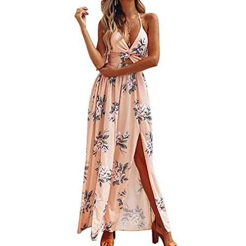 Beach V Front Dress Da Romper Beach Strap Jumpsuit Maxi Deep Printed Flower Spaghetti Albicocca Split Abito Donna Neck qfvw0Xq4x