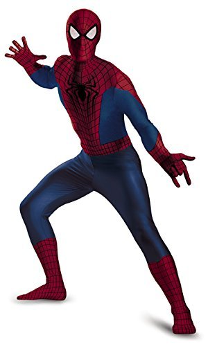 Spiderman Bodysuit Costume (Disguise Men's Marvel The Amazing Movie 2 Spider-Man Bodysuit Costume, Blue/Red/Black, XX-Large/50-52)