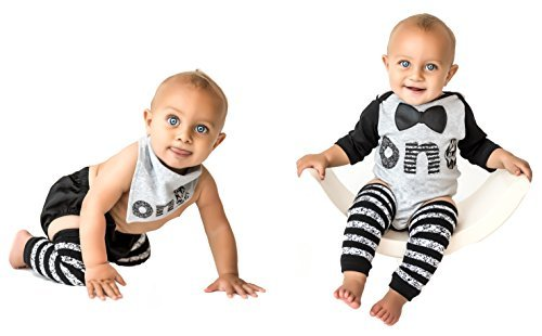 1st Baby Boys First Birthday Onesie Classy Outfit Set Bow Tie Shirt Black White Cake Smash 5 Piece Set 6-12 mnth