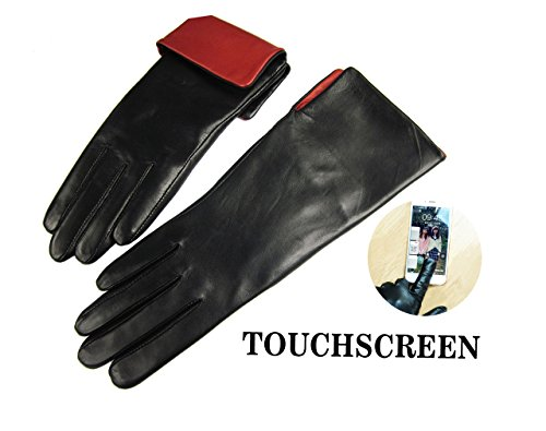 """Women's Genuine Leather Lined Winter Gloves, Australian Lambskin, Touchscreen, XL (8"""")"""