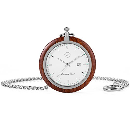 Original Wood Pocket Watch, Kwock Swiss Quartz Movement Stainless Steel Chain Natural Wooden Case Man Pocket Watches Best Gift for Birthday Holiday (Red Sandalwood) - Swiss Design Watch