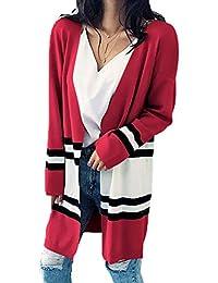 yulinge Womens Knitted Sweater Stripes Open Front Cardigan Outwear