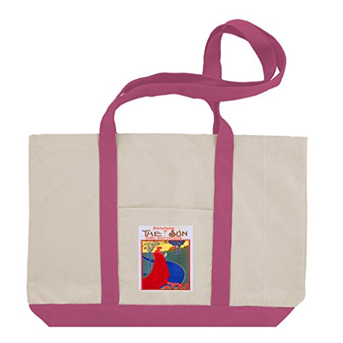 The Sun Cotton Canvas Boat Tote Bag Tote - Hot Pink