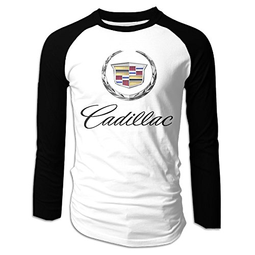 (Creamfly Mens Cadillac Logo Long Sleeve Raglan Baseball Tshirt S)