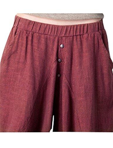 Élastique Fourche Rouge Femmes Pantalons Taille Harem Brique Gros Youlee Bq5wCIT