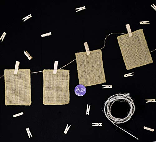 (Asian Hobby Crafts Wooden Photo Hanging Clips (15 pcs) and Jute Picture Frame Cut Outs 5 x 4 inch (12 pcs) with Jute Twine (11 Yards) for Photo Hanging Display, DIY Crafts)