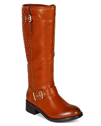 Nature Breeze Women Leatherette Quilt Strap Calf High Riding Boot BF67 - Tan (Size: 6.5)