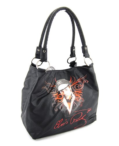 Elvis Presley Black Leather (Elvis Presley Black Medium Size Handbag, EV883)