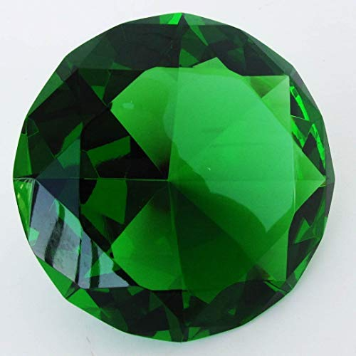 (Giant 100 mm Emerald Green Cut Glass Faceted Crystal Diamond)