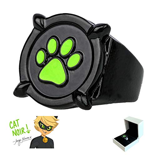 Cat Noir Ring for Kids - Ladybug Jewelry Costume Cosplay Accessories Gifts (US 6)]()