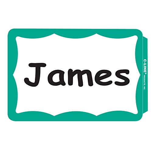 Self Stick Name Tags - C-Line Pressure Sensitive Peel and Stick Name Badges, Green Border, 3.5 x 2.25 Inches, 100 per Box (92263)