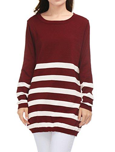 Allegra K Manches Longues Femmes K Allegra Bandes Tricoter Chemise Tunique Lache red