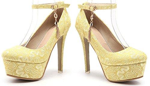 Idifu Dames Trendy Puntschoen Enkelband Stiletto Hoge Hakken Platform Pumps Met Hangers Geel