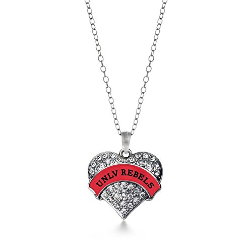 - Inspired Silver UNLV Rebels Pave Heart Necklace Clear Cystal Rhinestones