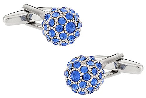 (Cuff-Daddy Swarovski Sapphire Blue Ball Cufflinks with Presentation Box)