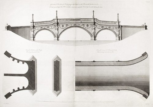 Geometrical elevation of a Bridge to be built over the River in the Garden at Sion. Plan of the Foundations of the Bridge. Plan of the Carriage and Footways of the Bridge