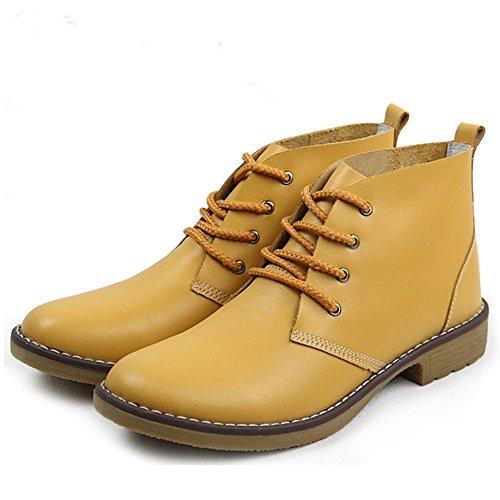 Feetmat Skinn Ankel Støvletter For Kvinner Snøre Opp Tilfeldige Oxfords Sko Bekjempe Støvler Booties Gule