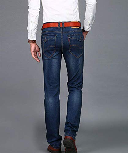 Vendimia De Pantalones Ajustados Battercake Cómodo Slim La Hombres Recta Fit Ocasionales Mezclilla Los Dunkelblau Vaqueros zfppAW
