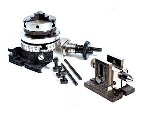 Mesa giratoria horizontal y vertical 3 '/ 75 mm con cabezal de torno de 65 mm y contrapunto
