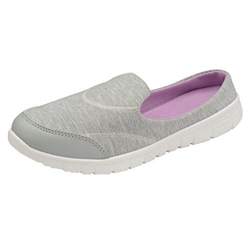 Damas superligera Espuma de memoria Caminando Gimnasio Zapatillas pantuflas gris