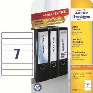 Avery Zweckform – Etiquetas para archivadores 192 x 38 autoadhesivo blanco VE=210 unidades)