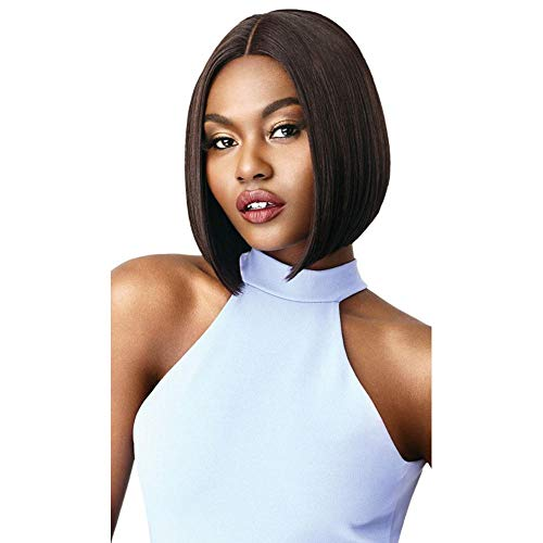 Outre Synthetic Blunt Cut Swiss Lace Front Wig - Ama (1B OFF BLACK)