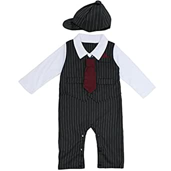 FEESHOW Baby Boys' Gentleman Romper Formal Party Wedding Tuxedo Outfit Suit 6-12 Months Black