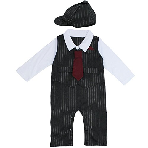 0c91a4d02eb FEESHOW Baby Boys  Gentleman Romper Formal Party Wedding Tuxedo Outfit Suit  Black 6-12 Months - Buy Online in Oman.